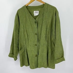 FLAX 100% Linen Button Peplum Jacket natural slub